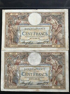 Pair mint cond. 1934 large French beautiful engravings banknotes. 1508
