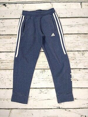 Kids Girls Adidas Blue Marl Cropped Jogging Bottoms Joggers Age 9-10 Years