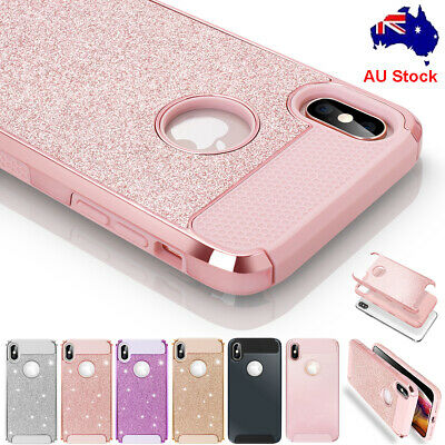 Fr iPhone XR XS Max Case Glitter Bling Hybrid Rubber Hard Armor Shockproof Cover