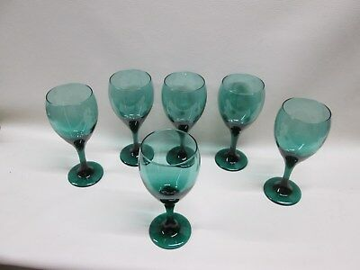 Set of 6 Dark Green Crystal Water Wine Goblets Glasses*