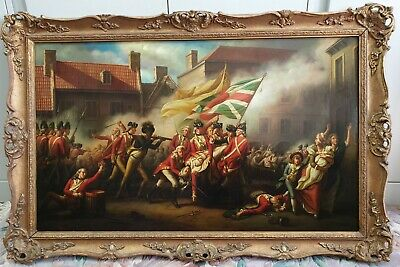Large 18th Century Antique European Battle Painting.
