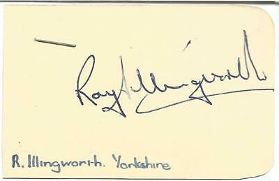 Ray Illingworth CBE signed card approx 3 x 2 inches.Cricketer E1894