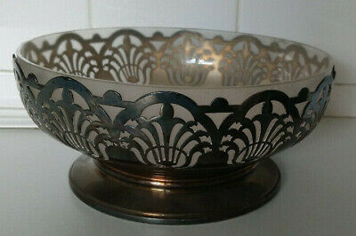 Antique Art Nouveau Mappin & Webb Silver Plate and Milky Glass Large Bowl