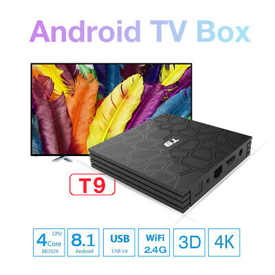 Latest T9 Android 8.1 Quad-Core 2.4Ghz Smart TV Box Support 4K Full HD(4GB+32GB)