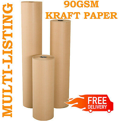 *New* Strong Brown Kraft Wrapping Parcel Paper Packaging Wrapping 90Gsm Free P&P