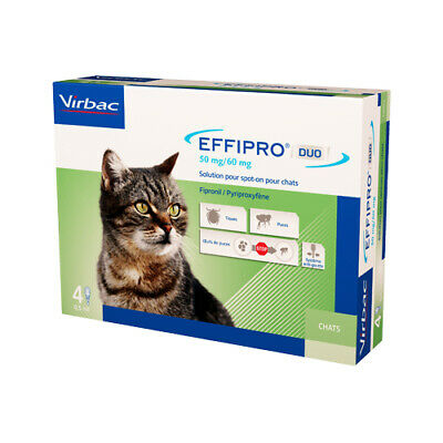 EFFIPRO¹Duo Chat traitement  tiques puces 50ml -120 ml  4 pipettes