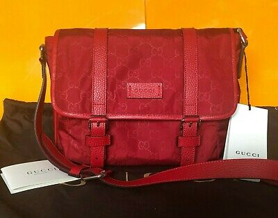 b8e42c838 GUCCI Nylon Guccissima Messenger Bag Red 100% Authentic! - Fast Free  Shipping!