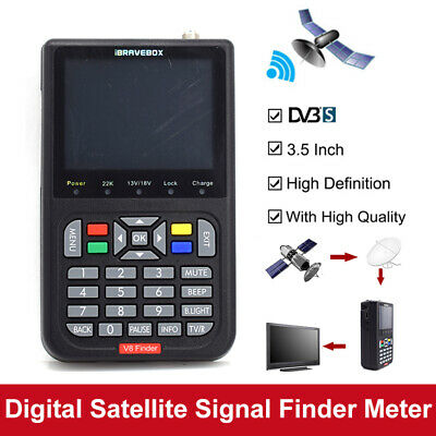 "V8 Finder 3.5"" Digital Satellite Signal Finder HD 1080P DVB-S/S2 Detection Black"
