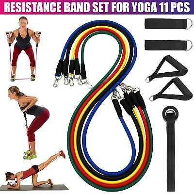 Resistance Bands Workout Exercise Yoga Gym 11 Piece Set Crossfit Fitness Tubes