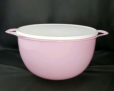 Tupperware 42 Cup Thatsa Mega Bowl Pastel Pink Delight with White Seal Huge USA