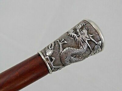 MAGNIFICENT CHINESE EXPORT SILVER WALKING CANE STICK DRAGON sterling ANTIQUE