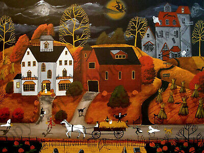 Dollhouse art 1.5x2 giclee print TRICK OR TREAT 17 Halloween graveyard witch DC