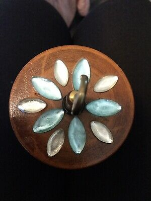 Rare! Boxing Cat Designs 'Crescent' Vintage Wood Pulley Top Whorl Drop Spindle
