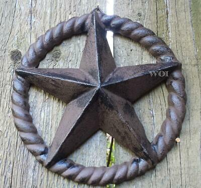 Distressed Hanging Texas Star Plaque Rope Wreath Western Sculpture Fence Prop