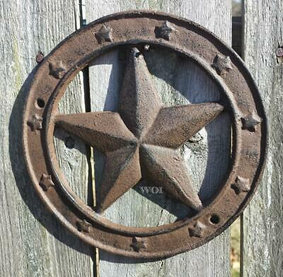 Rustic Metal Disc Sculpture Country Fence Art Gable Plaque Texas Star Crest Rust