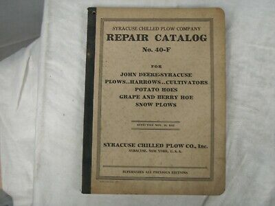 1943 Syracuse Chilled Plow Company Parts & Repair Catalog 40-F New York
