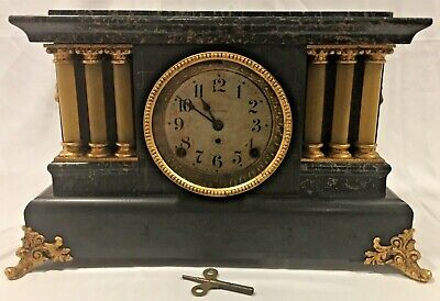 Antique Adamantine Seth Thomas Mantel Clock w/ Key  AS IS