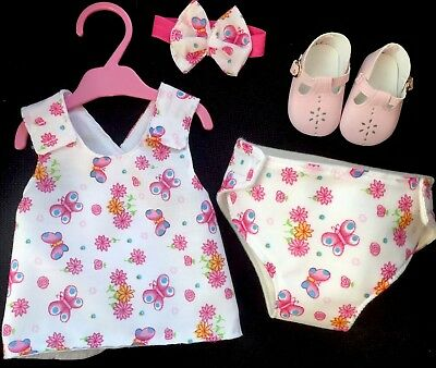 """New Dolls Dress Nappy Shoes Headband Fits Baby Born 16"""" Dolls Clothes Outfit"""