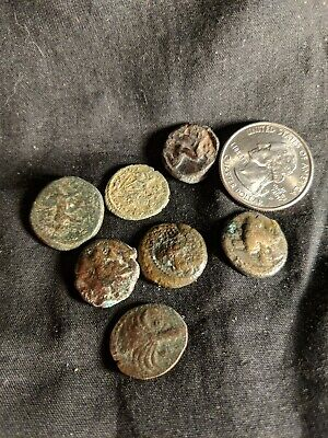 Roman Empire 7 Coin Lot Ancient Nice Details, Horse, Tree, Face Palm