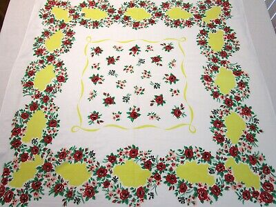 Vintage Tablecloth Floral Flower Print Red Pink Yellow Green Square 45X45 50S