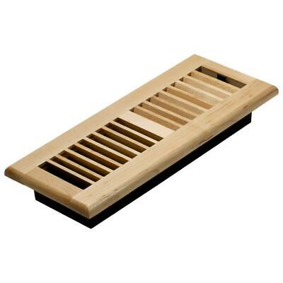 4 in. x 12 in. Maple Floor Register By Decor Grates Wood Louvered Vent