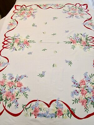 Vintage Tablecloth Lily Lilac Print Red Ribbon Blue Pink Yellow Banquet 52X78