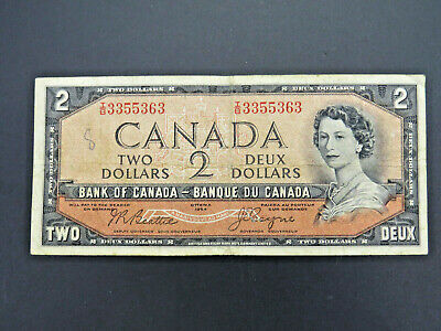 1954 $2 Dollar Bank Note Canada I/B3355363 Devil's Face Beattie Coyne F+ Grade