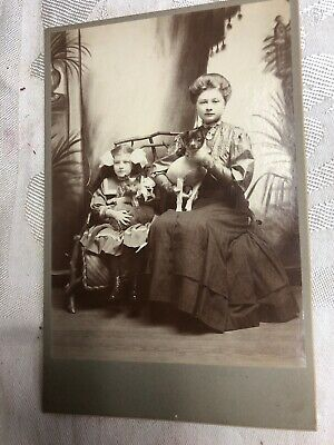 Vintage cabinet Photo Mother Daughter Dog And Cat
