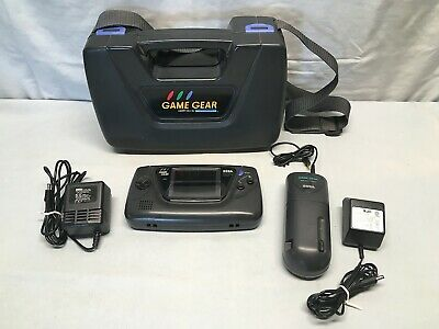 Sega Game Gear Handheld Console #2110 w Carry Case, Power Supply, Battery Pack