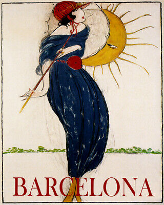 POSTER HORSE RACING SOCIETY BARCELONA 1917 SPAIN SPORT VINTAGE REPRO FREE S//H