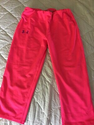Girls Under Armour Youth Large Fitted Heat Gear Capri Pants Bright Pink YLG