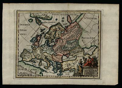 Europe in Antiquity 1711 Friesland island decorative map lovely hand color