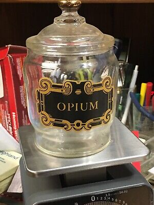 Vintage Groovy  Stash Glass Opium Jar Pharmacy Apothecary Doctor Witch Craft