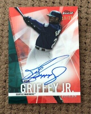 2017 Topps Finest KEN GRIFFEY JR Auto Red Wave Refractor #d 13/25