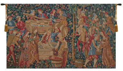 "The Vintage II Medieval European Jacquard Tapestry 35x61"" Wallhanging"