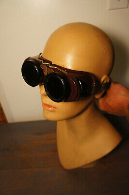 Vintage Welsh Mfg  Welding Goggles Steampunk Glasses Vtg Burning Man Spectacles