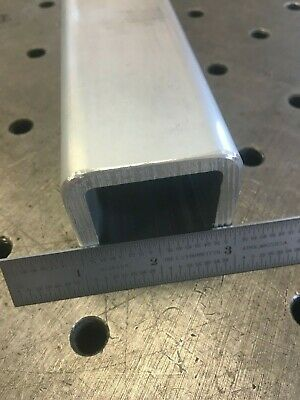 """2"""" Aluminum Square Tube Round Corners 1/4"""" wall x 12"""" long 6061 Mill Finish OPW"""