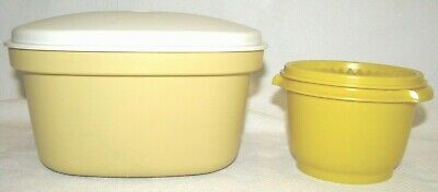 Vintage Tupperware Square Microwave Steamer Harvest Gold Plus Small Round Yellow