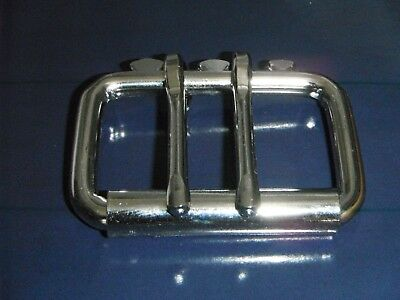 Double Pin Roller buckle nickel plated for 50 mm belt, dog collar solid steel