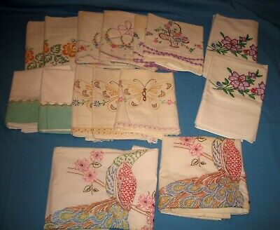 VTG Lot 15 7 Pair EMBROIDERED Crochet PILLOW CASES Crafts/Use Peacock/Butterfly!