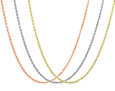 "10K & 14K Rose White Yellow Gold 1.5mm-2.5mm Rope Chain Pendant Necklace 14""-30"""