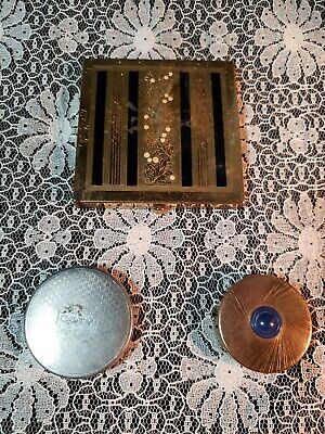 Vintage Wadsworth Gold Plated Floral, Enamel Design, Coty, Tangee Compact Lot
