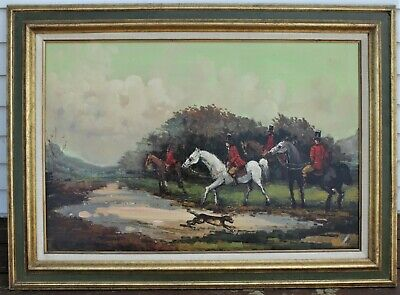 Large Unsigned English Fox Hunt Oil Painting On Canvas