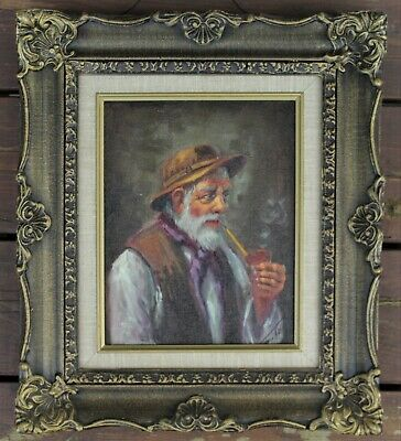 Vintage Framed & Signed Oil Painting - Elderly Man Smoking Pipe