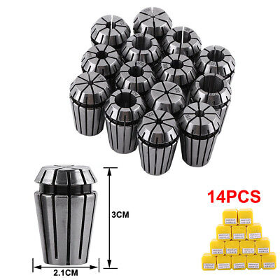 14x ER20 HSS Spring Collet Fit CNC Milling Lathe Tool Engraving Machine 1 Set US