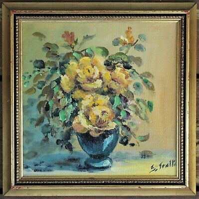 Vintage Framed & Signed Yellow Floral Oil Painting On Board