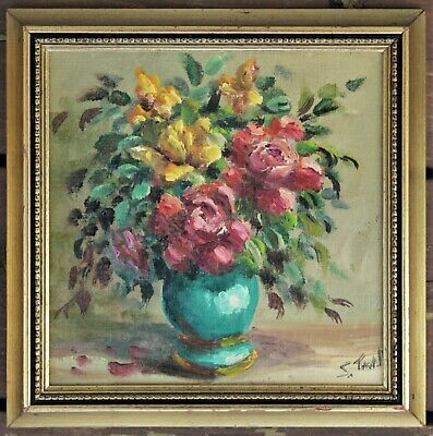 Vintage Framed & Signed Yellow & Red Floral Oil Painting On Board