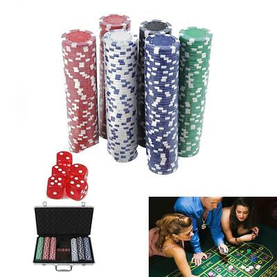 Pro 300 Clay Chips Set 2 Cards 5 Dices Set w/ Aluminum Carry Case Casino Games