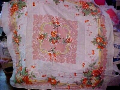 Vintage Printed Tablecloth w/ Brightly Colored Fruit