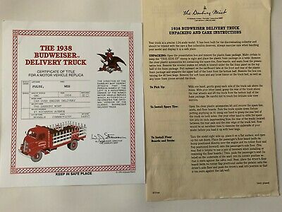 Danbury Mint 1938 GMC Budweiser Delivery Truck Title